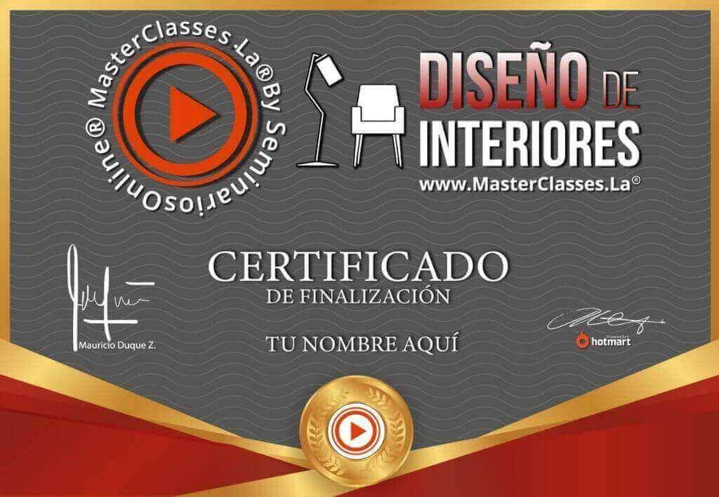Certificación del curso de diseño de interiores